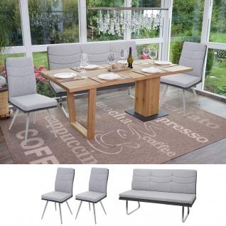 Set 2x Esszimmerstuhl+Sitzbank HWC-G54, Bank Küchenstuhl Stuhl, Stoff/Kunstleder Edelstahl