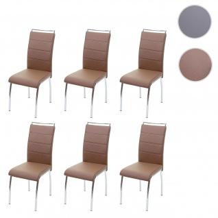 6x Esszimmerstuhl HWC-F30, Stuhl Küchenstuhl, Kunstleder Chrom