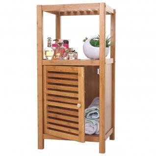 Badregal HWC-B18, Badezimmer Badschrank Standregal mit Tür, Bambus