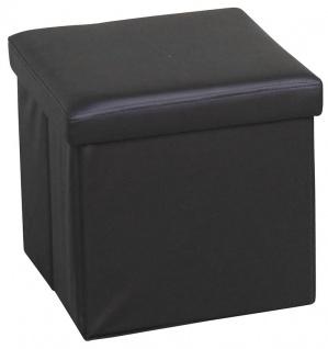 Sitzhocker H108, Sitzwürfel Hocker, mit Deckel, faltbar, Kunstleder