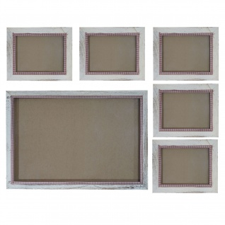 Bilderrahmen Set, Fotorahmen, 5x 19x24cm 1x 36x51cm Shabby Landhaus