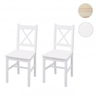 2x Esszimmerstuhl HWC-F77, Lehnstuhl Küchenstuhl Stuhl, Massiv-Holz Landhaus