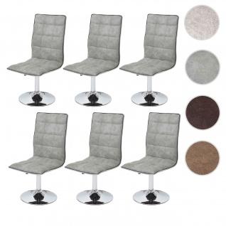 6x Esszimmerstuhl HWC-C41, Stuhl Lehnstuhl, höhenverstellbar drehbar, Stoff/Textil