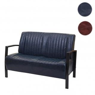 2er Sofa HWC-H10, Couch Zweisitzer, Metall Kunstleder Industrie-Design