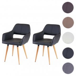 2x Esszimmerstuhl HWC-D87 II, Stuhl Küchenstuhl, Retro 50er Jahre Design