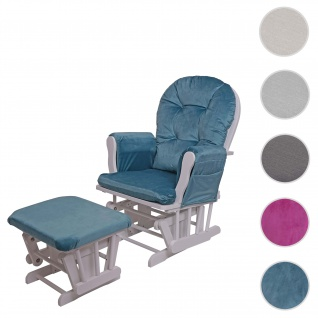 Relaxsessel HWC-C76, Schaukelstuhl Sessel Schwingstuhl mit Hocker