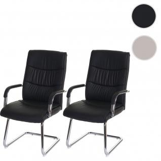2x Konferenzstuhl HWC-A49, Besucherstuhl Freischwinger, Kunstleder