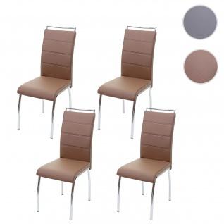4x Esszimmerstuhl HWC-F30, Stuhl Küchenstuhl, Kunstleder Chrom