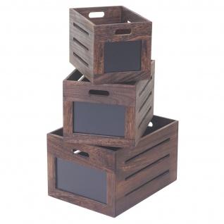 3er Set Holzkiste HWC-E11, Aufbewahrungsbox mit Tafel, Shabby-Look