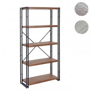 Bücherregal HWC-A27, Standregal Wohnregal, 165x80cm 3D-Struktur 5 Ebenen