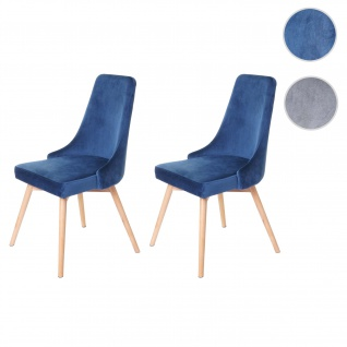 2x Esszimmerstuhl HWC-B44, Stuhl Lehnstuhl, Retro 50er Jahre Design Samt