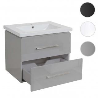 Premium Waschbecken + Unterschrank HWC-D16, Waschbecken Waschtisch, hochglanz 60cm