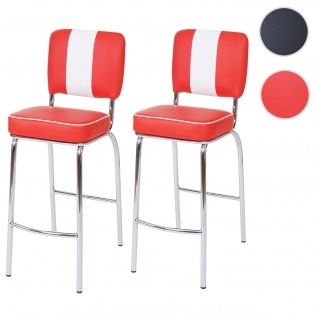 2x Barhocker Avellino, Barstuhl Tresenhocker, Retro 50er Jahre Design, Kunstleder