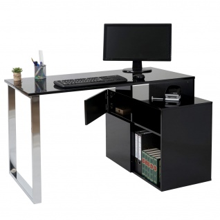 Eckschreibtisch HWC-A72, Bürotisch Schreibtisch Computertisch, hochglanz 120x80cm