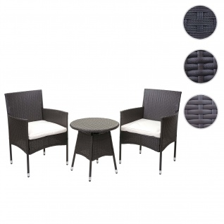 Poly-Rattan Balkonset HWC-G27, Sitzgarnitur Gartengarnitur, 2xSessel+Tisch