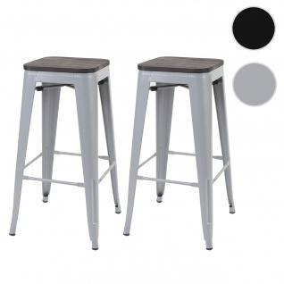 2x Barhocker HWC-A73 inkl. Holz-Sitzfläche, Barstuhl Tresenhocker, Metall Industriedesign stapelbar