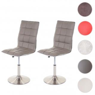 2x Esszimmerstuhl HWC-C41, Stuhl Küchenstuhl, höhenverstellbar drehbar, Fuß gebürstet, Kunstleder