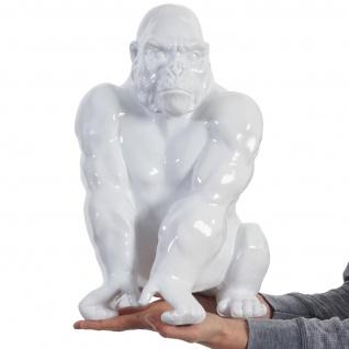 Deko Figur Gorilla 40cm, Polyresin Skulptur, In-/Outdoor