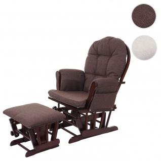 Relaxsessel HWC-C76, Schaukelstuhl Stillstuhl Sessel Schwingstuhl Schwingsessel mit Hocker, Stoff/Textil