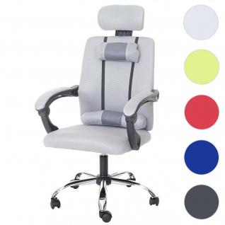 Jugend-Bürostuhl HWC-A13, Schreibtischstuhl Drehstuhl, Kopfstütze Armlehnen Stoff/Textil
