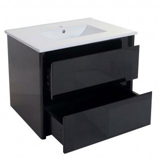Waschbecken + Unterschrank HWC-B19, Waschbecken Waschtisch Badezimmer, hochglanz 50x80cm