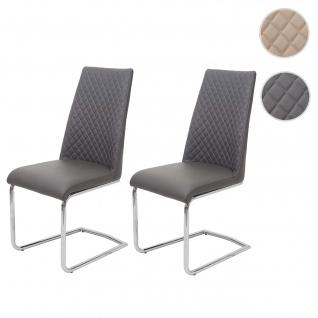 2x Esszimmerstuhl HWC-F31, Stuhl Küchenstuhl Freischwinger, Kunstleder