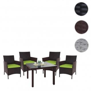 Poly-Rattan-Garnitur Halden, Balkon-Set Gartenmöbel Sitzgarnitur