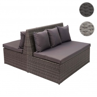 2x Poly-Rattan 2er Sofa HWC-G16, Lounge-Gartenbank Sitzbank Sessel, Gastronomie 120cm