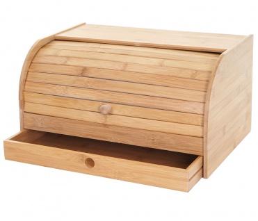 Brotkasten HWC-B80, Brotkiste Brotbehälter Brotkorb Brotaufbewahrung, Bambus Rolldeckel