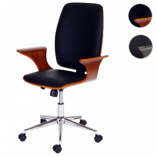 Bürostuhl HWC-C54, Chefsessel Drehstuhl, Bugholz Kunstleder