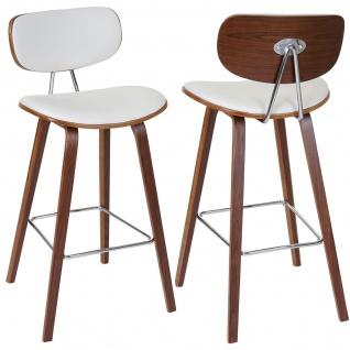 2x Barhocker HWC-C32, Barstuhl Tresenhocker, Retro-Design Holz Bugholz Walnuss-Optik