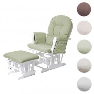Relaxsessel HWC-C76, Schaukelstuhl Sessel Schwingstuhl mit Hocker, Stoff/Textil