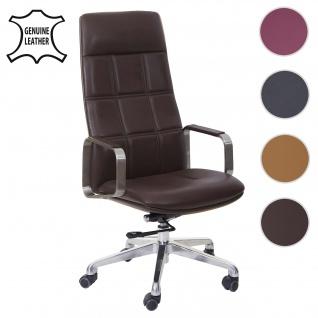 Bürostuhl HWC-A57, Schreibtischstuhl Drehstuhl, Voll-Leder + Kunstleder Edelstahl ISO9001