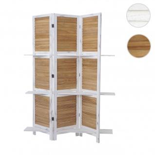 Paravent Yvelines, Trennwand Raumteiler mit Regalböden 170x125cm, Shabby Look