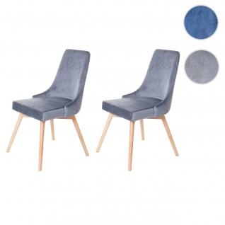 2x Esszimmerstuhl HWC-B44, Stuhl Küchenstuhl, Retro 50er Jahre Design Samt
