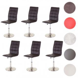 6x Esszimmerstuhl HWC-C41, Stuhl Küchenstuhl, höhenverstellbar drehbar, Fuß gebürstet, Kunstleder