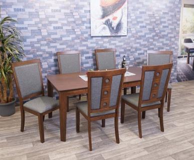 Esszimmer-Set HWC-G61, Sitzgruppe Esszimmergruppe Esszimmergarnitur, Stoff/Textil Massiv-Holz