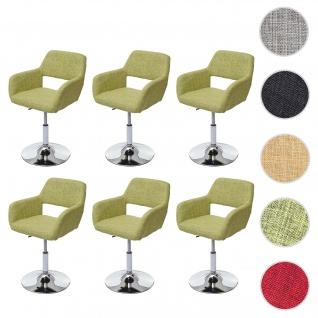 6x Esszimmerstuhl HWC-A50 III, Stuhl Küchenstuhl, Retro 50er Jahre, Stoff/Textil