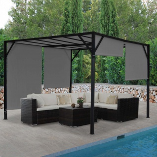 Pergola Baia, Garten Pavillon Terrassenüberdachung, stabiles 6cm-Stahl-Gestell + Schiebedach grau
