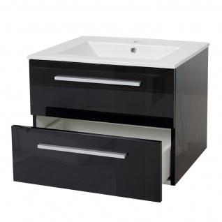 Waschbecken + Unterschrank HWC-C11, Waschbecken Waschtisch Badezimmer, hochglanz 48x61cm