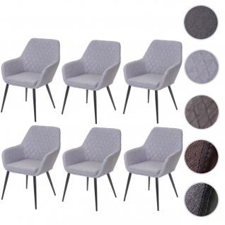 6x Esszimmerstuhl HWC-D35, Stuhl Küchenstuhl, Stoff/Textil Retro
