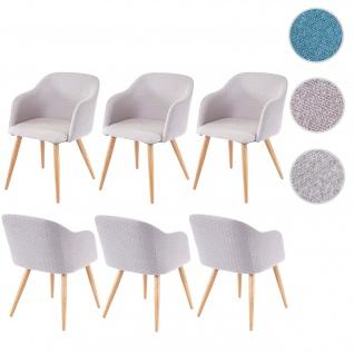 6x Esszimmerstuhl HWC-D71, Stuhl Küchenstuhl, Retro Design, Armlehnen Stoff/Textil