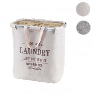 Wäschesammler HWC-C34, Laundry Wäschebox Wäschekorb Wäschebehälter mit Kordelzug, 2 Fächer Henkel 54x52x32cm 89l