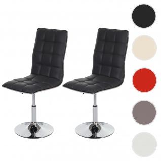 2x Esszimmerstuhl HWC-C41, Stuhl Küchenstuhl, höhenverstellbar drehbar, Kunstleder
