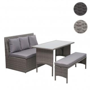 Poly-Rattan Garnitur HWC-G16, Garten-/Lounge-Set Sitzgruppe, Gastronomie 2er Sofa Tisch Bank