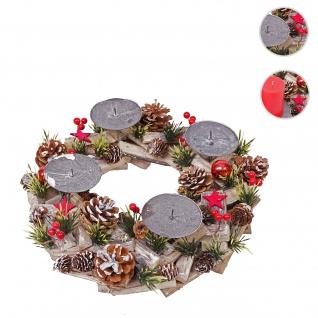 Adventskranz HWC-H50, Weihnachtsdeko Adventsgesteck Weihnachtsgesteck, Holz rund Ø 33cm
