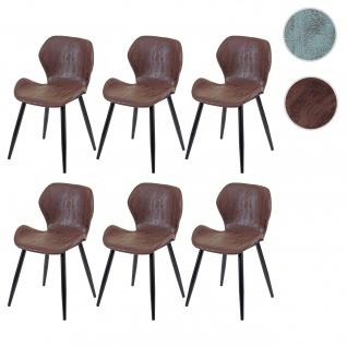 6x Esszimmerstuhl HWC-F24, Stuhl Küchenstuhl, geschwungene Sitzform Kunstleder