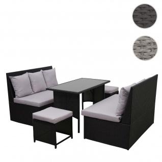 Poly-Rattan Garnitur HWC-G16, Garten-/Lounge-Set, Gastronomie 2x2er Sofa Tisch 2xHocker