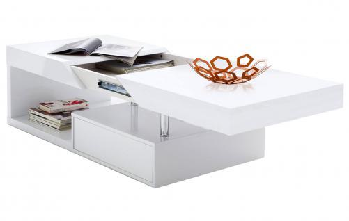 MCA Couchtisch Hope, Wohnzimmertisch, hochglanz weiß ausziehbar mit Stauraum