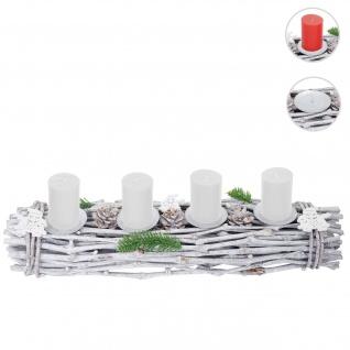 Adventskranz länglich, Weihnachtsdeko Adventsgesteck, Holz 60x16x9cm weiß-grau